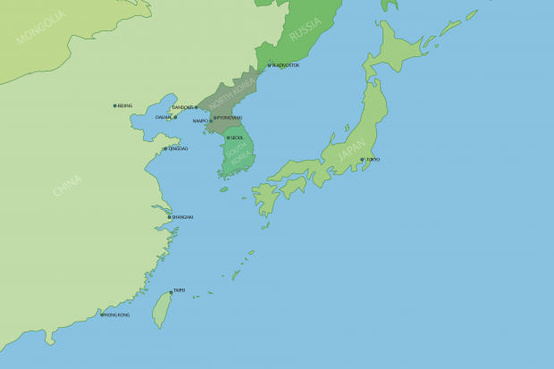North Korea and surrounding region