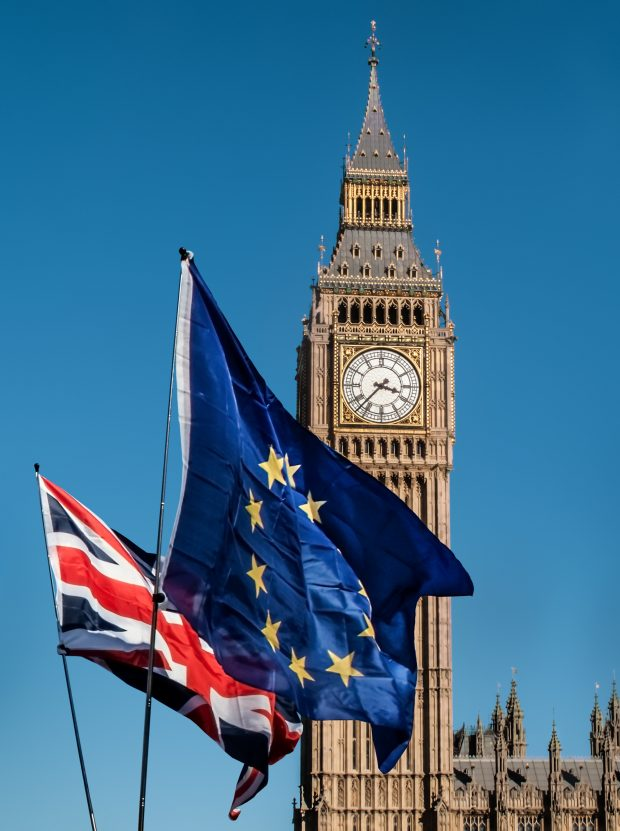 EU and UK flag in front of Big Ben