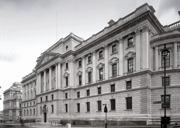black and white photo of front of HM Treasury