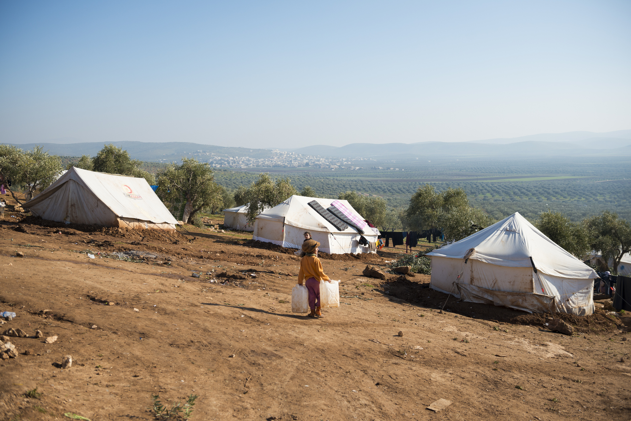 Refugees and landscape in Atmeh, Syria